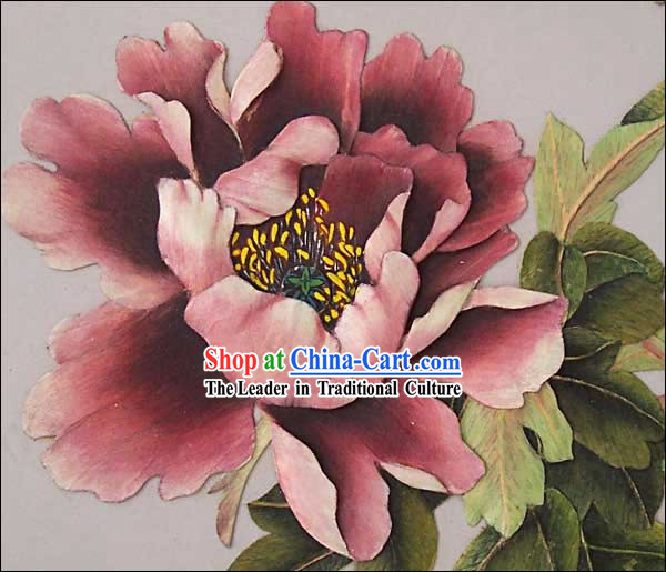 Chinese Classic Hand Carved Wood House Solid Decorative Painting-Peony