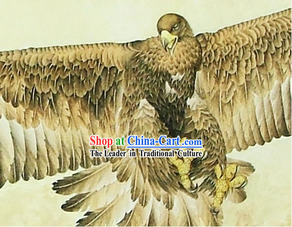 Chinese Classic Large Hand Carved Wood House Solid Decorative Painting-Eagle Flying in the Sea