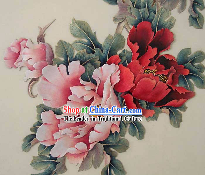 Chinese Hand Carved Wood House Solid Decorative Painting-Palace Peony