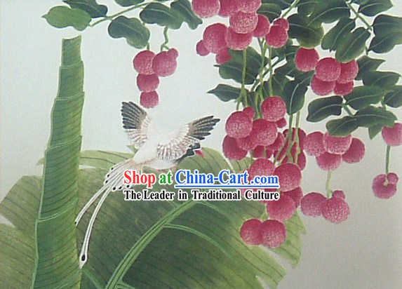 Chinese Classic Large Hand Carved Wood House Solid Decorative Painting-Lichee and Bird