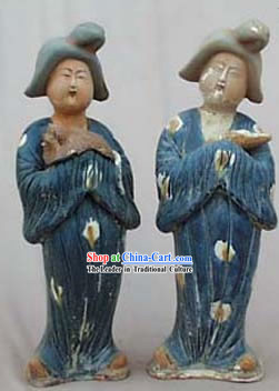 Chinese Tang San Cai Statue-Tang Dynasty Fat Ladies Holding Dogs and Baby_2 Pieces Set_