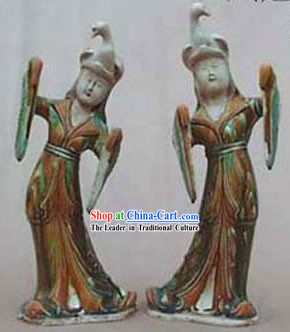 Chinese Classic Archaized Tang San Cai Statue-Tang Dynasty Lady Dancers with Phoenix Hat