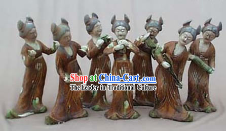 Chinese Classic Archaized Tang San Cai Statue-Group of Tang Dynasty Palace Musicians _7 Pieces Set_