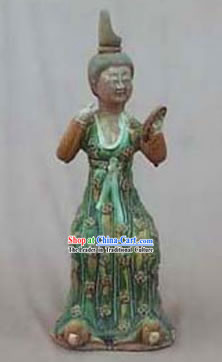 Chinese Classic Archaized Tang San Cai Statue-Making-up Tang Dynasty lady
