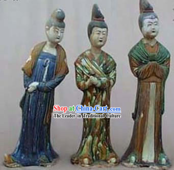 Chinese Classic Archaized Tang San Cai Statue-Maids of Honour _Three Pieces Set_