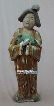 Large Chinese Tang San Cai Statue _Tri-colour Glazed Pottery_-Tang Dynasty Lady with A Puppy
