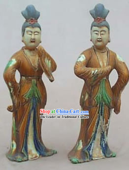 Chinese Classic Archaized Tang San Cai Statue-Tang Dynasty Dancing Women (Two Pieces Set)
