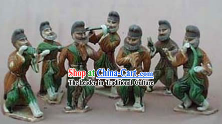 Chinese Classic Archaized Tang San Cai Statue-Group of Hu Musicians _Seven Pieces Set_