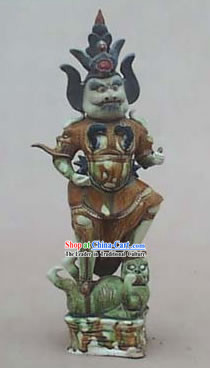 Chinese Classic Archaized Tang San Cai Statue-King Catching Ghost