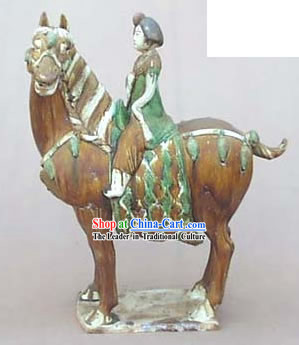 Chinese Classic Archaized Tang San Cai Statue-Tang Dynasty Riding Fat Woman