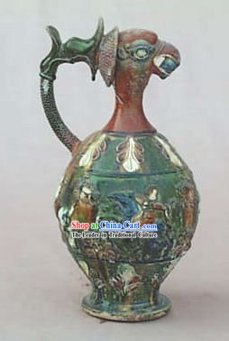 Chinese Classic Archaized Tang San Cai Statue-Phoenix Head Kettle