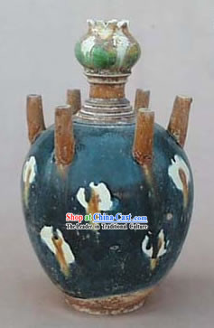Chinese Classic Archaized Tang San Cai Statue-Six Tubes Jar
