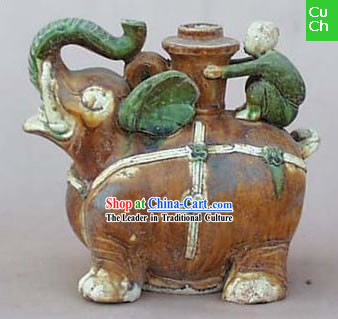 Chinese Classic Archaized Tang San Cai Statue-Elephant Shaped Kettle