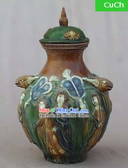 Chinese Classic Archaized Tang San Cai Statue-Sheep Head Amphora Lidded Tang Dynasty Rich Lady Jar