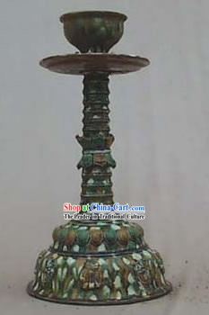 Chinese Classic Archaized Tang San Cai Statue-Tang Dynasty Candle Holder