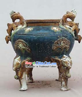 Chinese Classic Archaized Tang San Cai Statue-Phoenix Ears Tripod pot