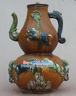 Chinese Classic Archaized Tang San Cai Statue-Six Horses Calabash Shaped Pot