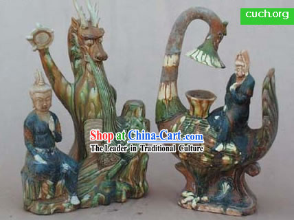 Chinese Classic Archaized Tang San Cai Statue-Phoenix and Dragon
