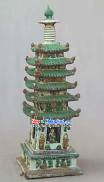 Chinese Classic Archaized Tang San Cai Statue-Sarira Tower