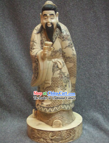 Chinese Classic Ox Bone Handicraft Sculpture Statue-Lu Yu Tasting Tea