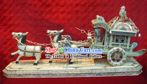 Chinese Classic Ox Bone Handicraft Sculpture Statue-Carriage