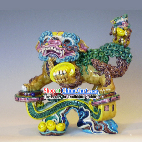 Chinese Classical Cochin Ceramics Statues-Large As You Wish Lion King