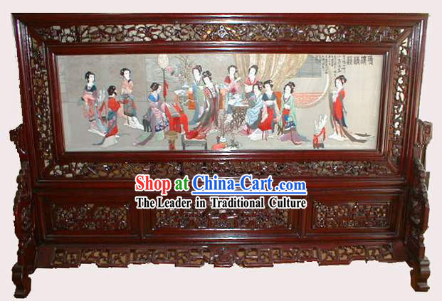 Chinese Classic Hand Made Double-Face Embroidery Craft-Palace Women of Tang Dynasty