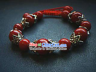 Red Coral Tibet Silver Bracelet