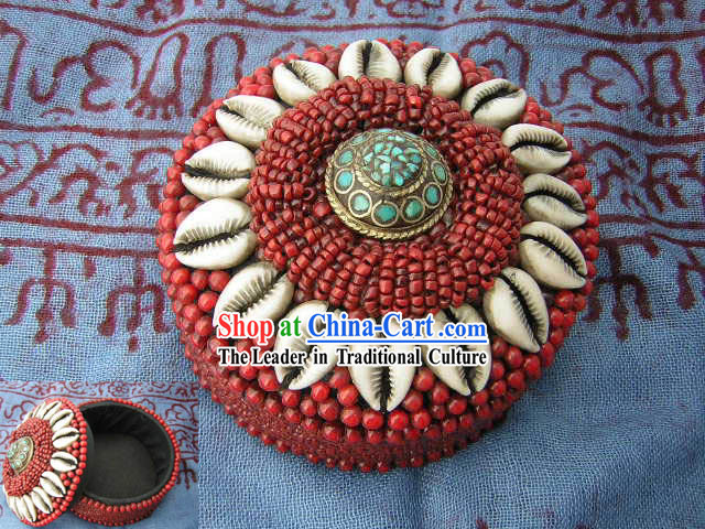 Tibet Red Coral Embroidery Box