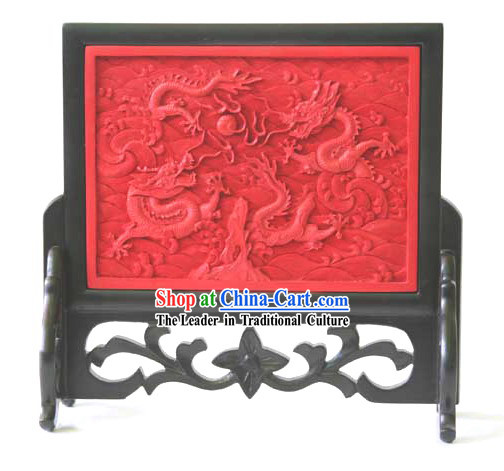 Traditional Lacquer Craft-Playing Dragons Plate