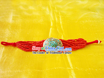 Tibet Natural Coral Song Stone Hand Chain 1