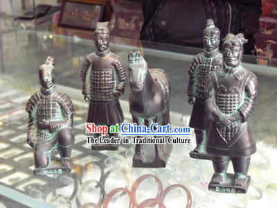 China Terra Cotta Warrior Pottery Set_5 Statues_