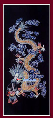 China Hand Made Batik Hanging by Miao Tribe-Ancient Dragon