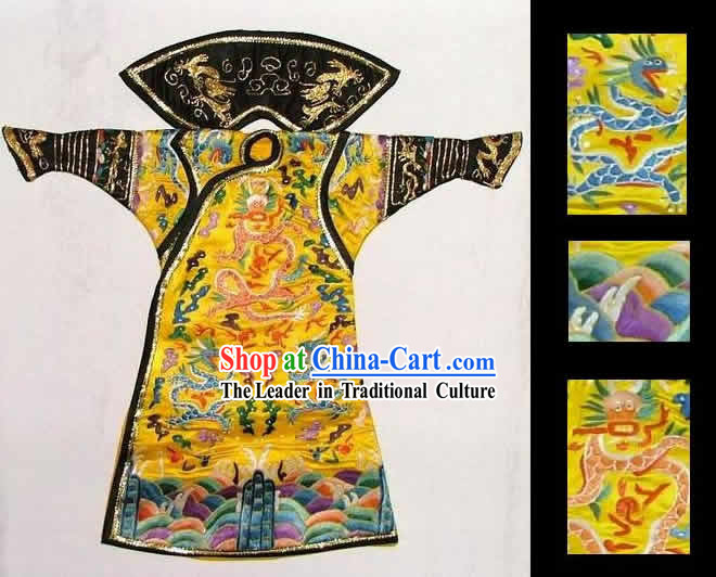 100_ Hand Made Embroidery Silk Imperial Robe of Chinese Emperor