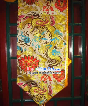 China Handmade Golden Dragon Embroidery Table Cloth