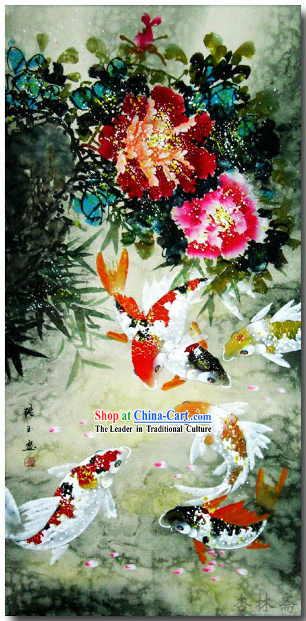 Chinese Classic Traditional Painting-Colorful Lucky Fishes