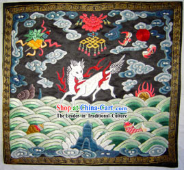 Qing Dynasty Ninth Grade Military Government Offical Hand Embroidery Flake