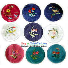 Chinese Classic Hand Made Embroidery Teacup Tray _9 pieces set_