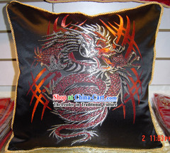 Chinese Ancient Dragon King Silk Cushion