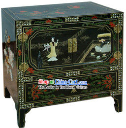 Chinese Palace Lacquer Ware Cabinet-Flying a Kite