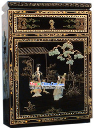 Chinese Palace Lacquer Ware Cabinet-Tang Dynasty Women