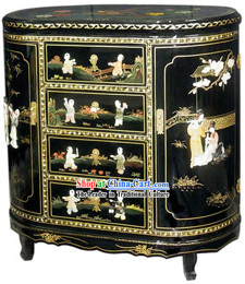 Chinese Palace Lacquer Ware Cabinet-Ancient Children and Women Fun