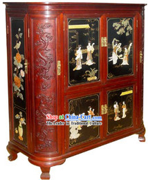 Chinese Classic Red Large Palace Lacquer Ware Cabinet