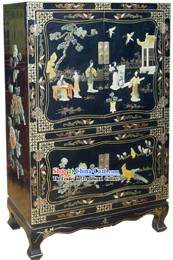 Chinese Classic Large Palace Beauties Lacquer Ware Cabinet 20