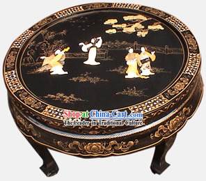 Chinese Square Lacquer Ware Table Set-Palace Beauties
