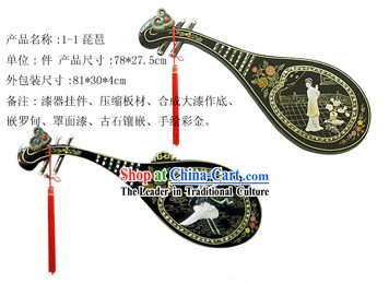 Chinese Palace Hanging Lacquer Ware Large Lute Mirror