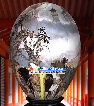 Chinese Wonder Hand Painted Colorful Egg-Inside The Mountain Painting