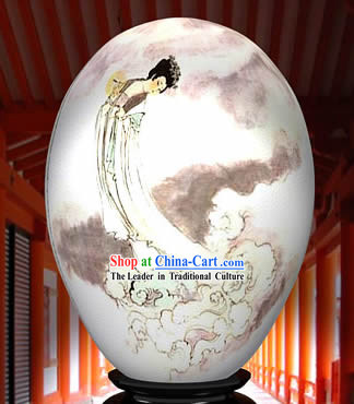 Chinese Wonder Hand Painted Colorful Egg-Ancient Angel On The Cloud Painting