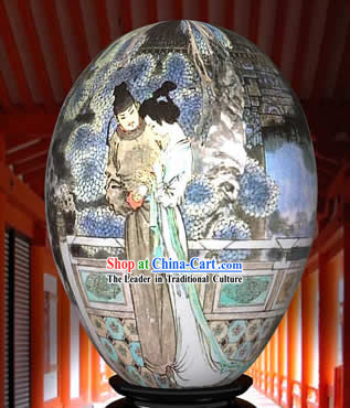 Chinese Wonder Hand Painted Colorful Egg-Poet Couple Painting