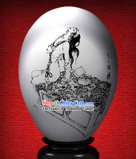 Chinese Wonder Hand Painted Colorful Egg-You Er Niang of The Dream of Red Chamber